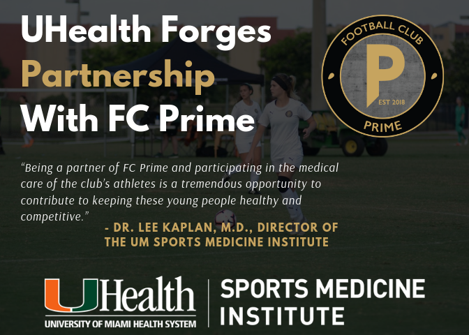 University of Miami Sports Medicine Institute Supports FC Prime as Official Uniform Sponsor