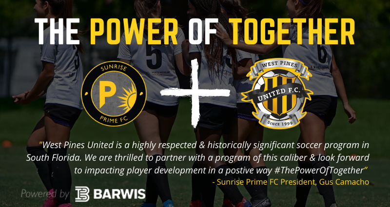 West Pines United X Sunrise Prime FC Announce Partnership